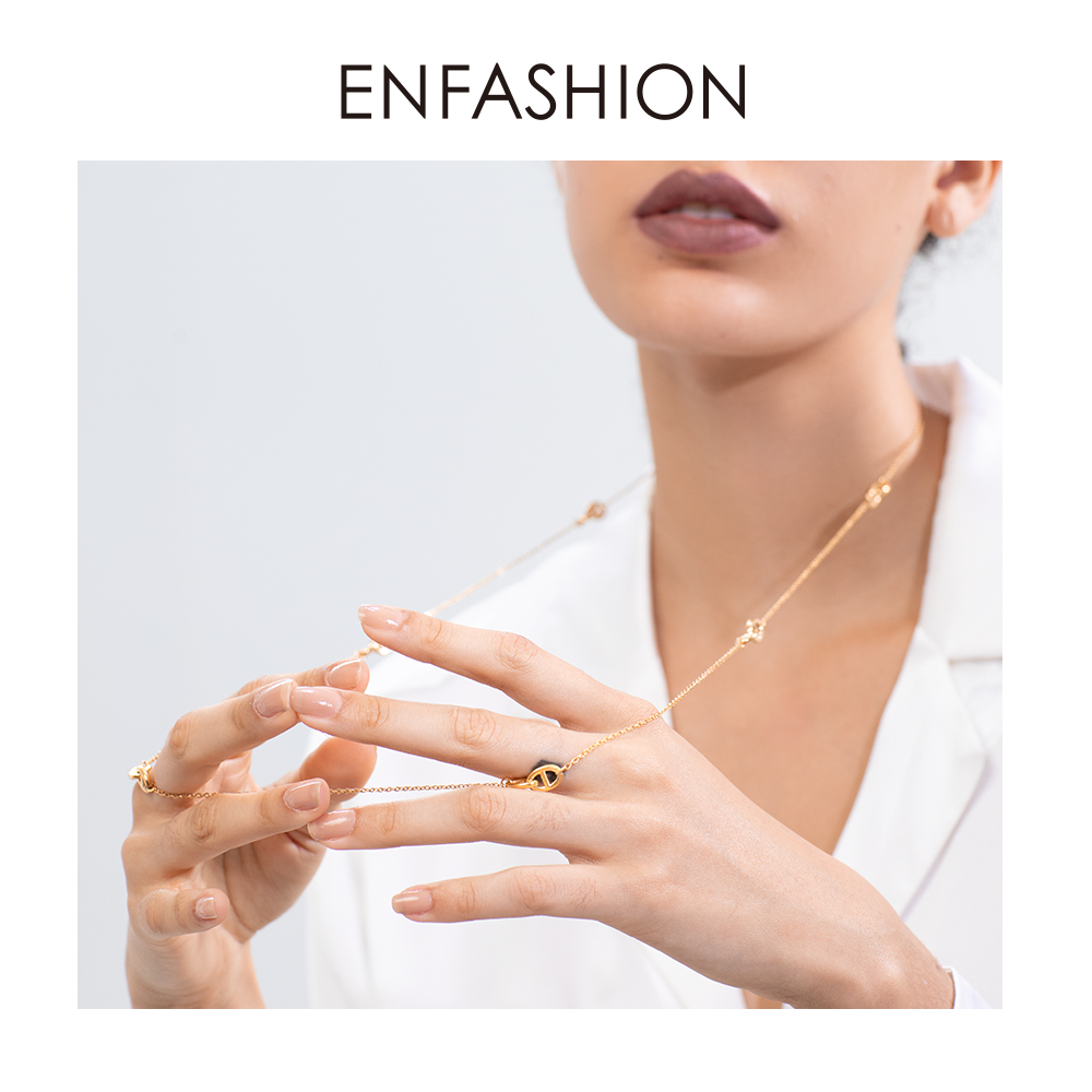 ENFASHION Geometric Hollow Chain Choker Necklace Women Gold Color Stainless Steel Long Necklace Fashion Femme Jewelry P193060Chain Necklaces   -