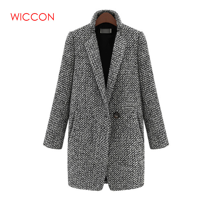Design New Spring Winter Women Coat Gray Wool Coat Long Brand Woolen Trench Overcoat Lady Outwear