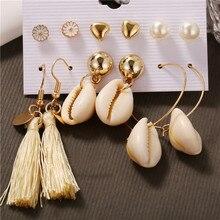 Delicate 6 Pairs Women Round Imitation Pearl Heart Stud Earrings for Women Piercing Imitation Pearl Earrings Set Wedding Party цена