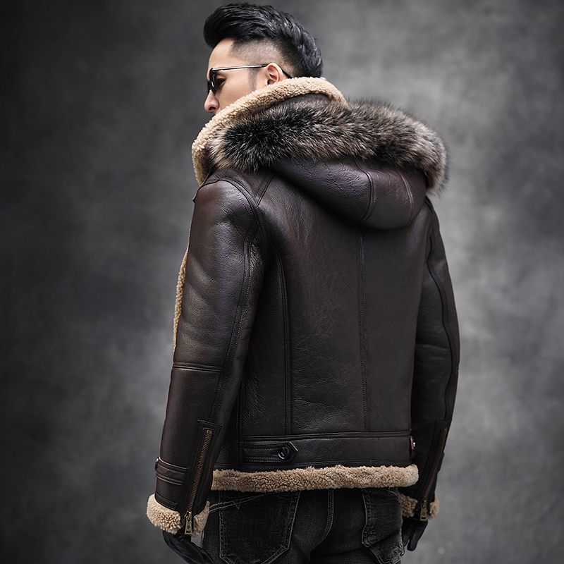 Winter Genuine Leather Jacket Men Natural Sheep Fur Coat Shearling Motorcycle Jacket Raccoon Fur Collar RSJM1025 KJ3821