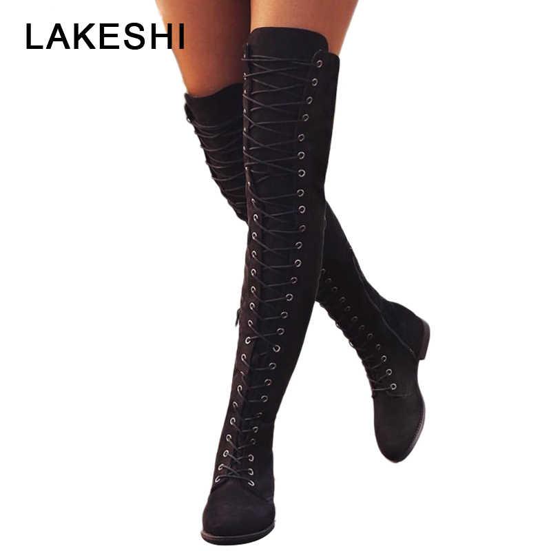 Cuissardes minces bottes sur le genou chaussures d'hiver femme bottes hautes au genou femmes chaudes bottes d'hiver femmes chaussures grande taille 43