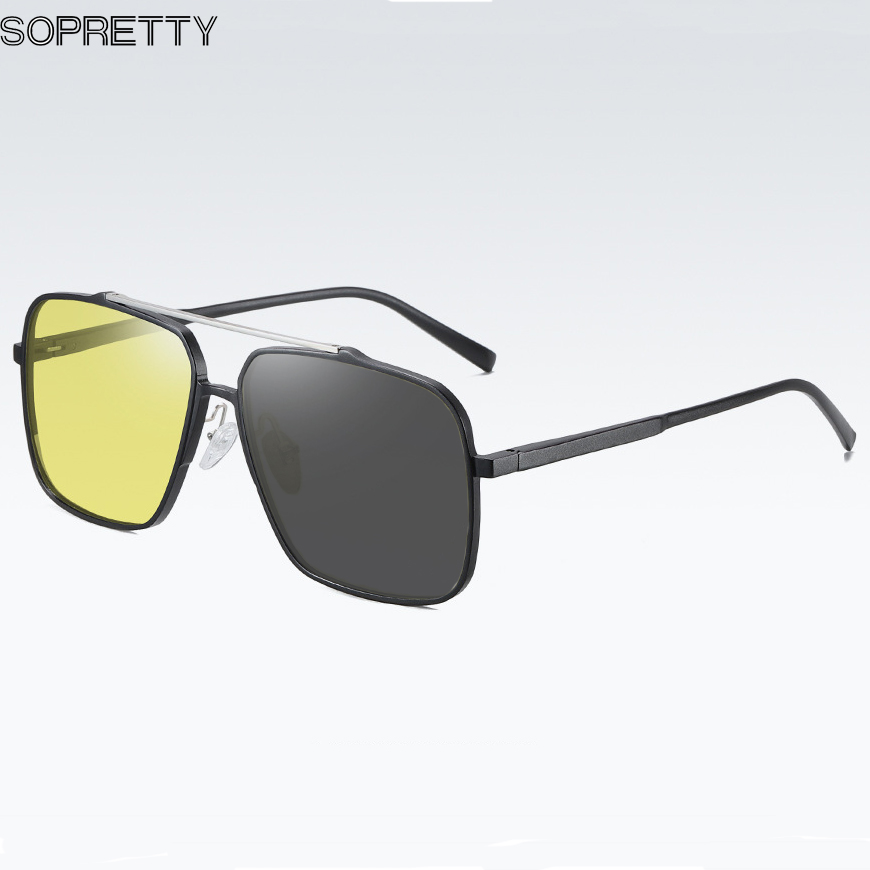 2020 New Aluminum Magnesium Polarized Sunglasses ,Men Color-changing Glasses ,Photochromic Sunglass Night Vision Mirror HS8050
