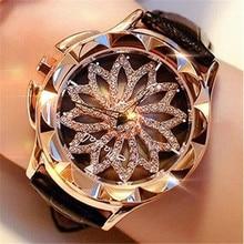 Watch Women Rhinestone Watches Leather Big Dial Bracelet Wom