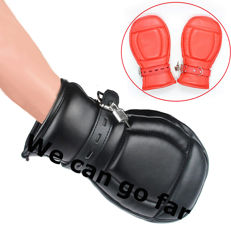 Bondage Fetish Paddle Mittens Lockable Gloves Dog Paw Palm Sensory Deprivation Padded Fist Mitts,Pet Role Play Accessories