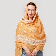 Foulard brodé pour femmes, foulard musulman de haute qualité, hijab, en coton, foulard de luxe, pour femmes, hiver