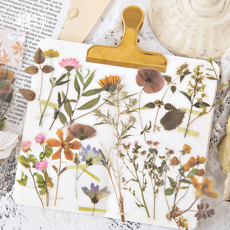 40 Pcs/set Vintage Stickers Fall Flowers Bullet Journal Decorative Sticker Diary Stationary Album Sticker Flakes Scrapbooking
