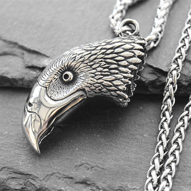 STAINLESS STEEL EAGLE HEAD NECKLACE