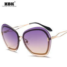 Women's Rimless Sunglasses Metal 2020 High Quality Men Shade