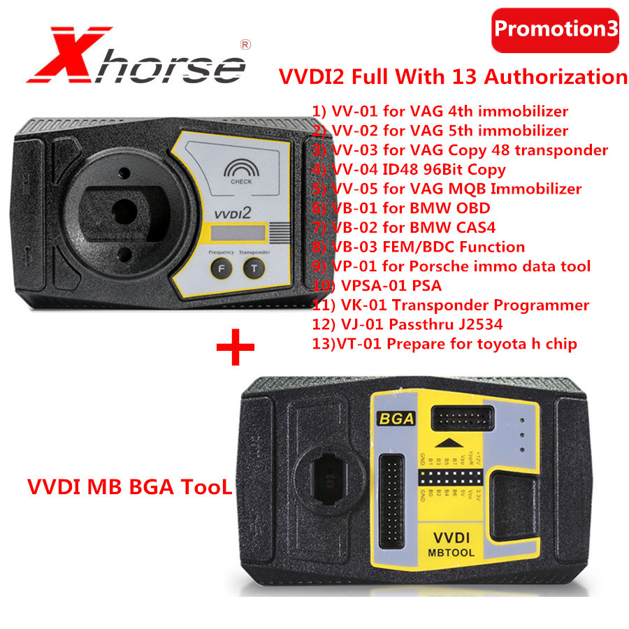 (Xhorse Promotion 3)Xhorse V6.6.9 VVDI2 Full Commander <font><b>Key</b></font> <font><b>Programmer</b></font> With 13 Authorizations Plus V5.0.3 VVDI <font><b>MB</b></font> BGA TooL image