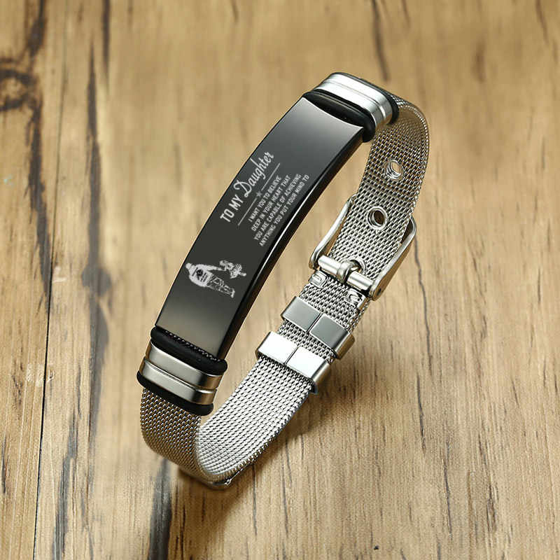Meaeguet Personalized Bangle Men's Slide Mesh Bracelet Silver Customized Name Wristband Stainless Steel Male Bileklik Pulseira