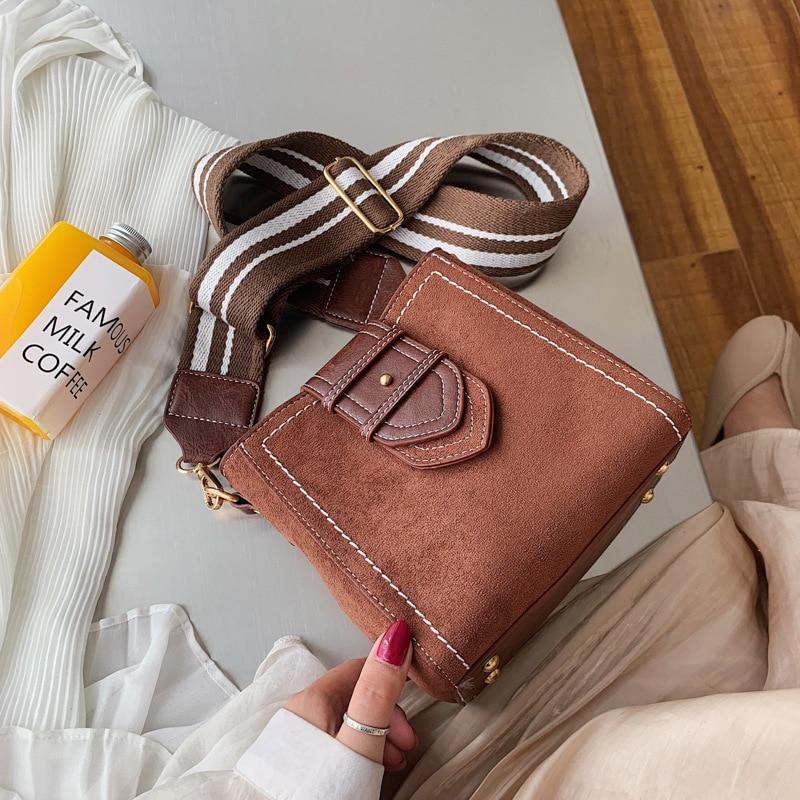 Suede Women Crossbody Bag 2019 New Nubuck Leather Retro Lady Bucket Handbag Fashion Brand Designer Luxury Messenger Shoulder Bag