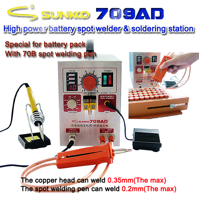 SUNKKO 709AD with 70B lithium battery induction automatic spot welding machine 3 2KW high power maximum welding thickness 0 35mm