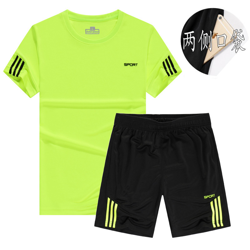 Summer New Style Men Crew Neck Striped Letters Short Sleeve T-shirt Shorts Large Size Leisure Sports Suit
