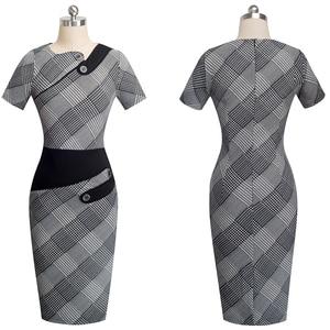 Image 4 - Nice forever vestido ceñido de negocios para mujer, elegante, ilusión de retales, ajustado con botones, b231