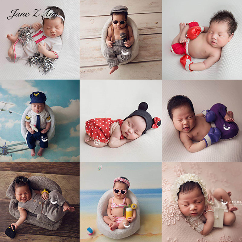 Jane Z Ann Newborn photo props baby creative theme police singer cheerleaders beach lady costume studio shooting idea 1