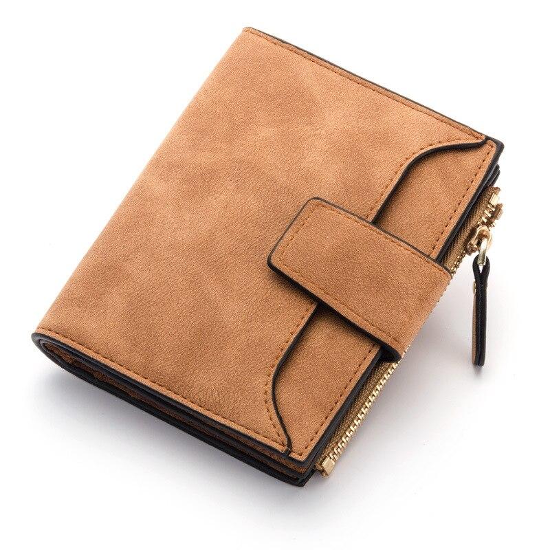 Кожаный женский кошелек маленький и тонкий кошелек с отделением для монет женские кошельки с отделением для карт Роскошные брендовые кошельки дизайнерский кошелек - Цвет: Brown