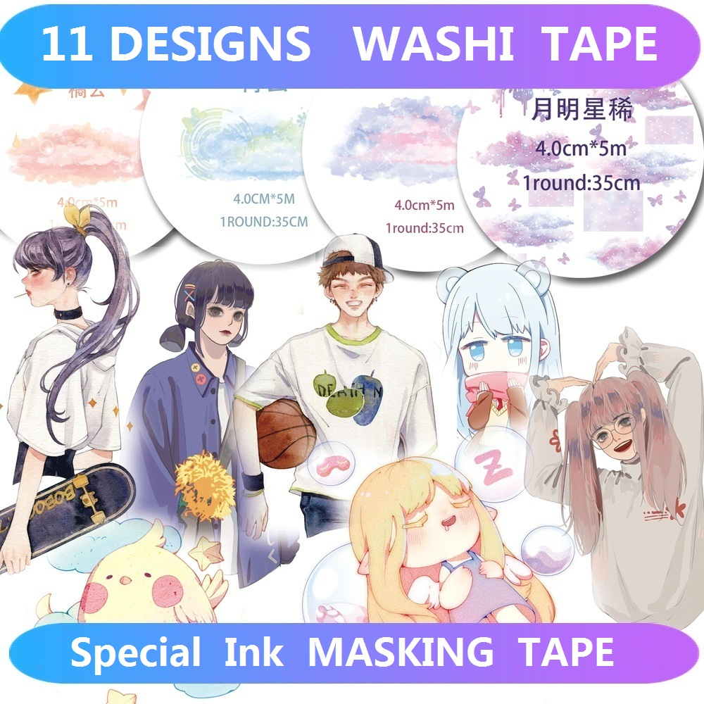 11 Designs Washi Tape Special Ink Planner Girls Japanese Decor Adhesive DIY Masking Paper Label Stickers Diary Scrapbooking Gift