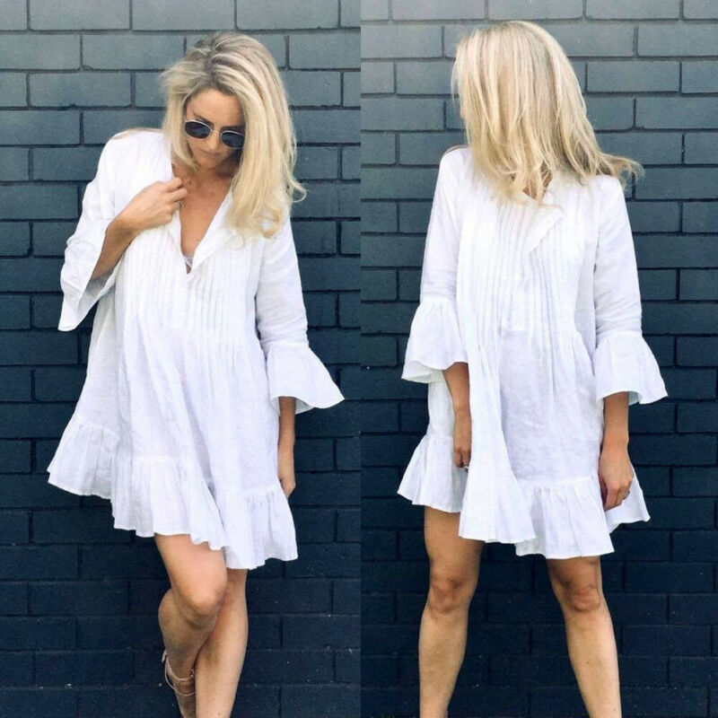 Women White Dress Cotton Hollow Out Lace Dress 2019 Summer New Fashion Lady's Mini Loose Thin Beach Dresses Swimwear Cover Up