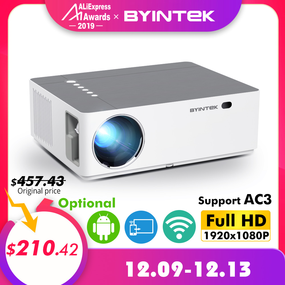 BYINTEK MOND K20 1920*1080 Full HD Smart Android Wifi unterstützung AC3 300 zoll LED Video Projektor mit USB für Home Theater Kino