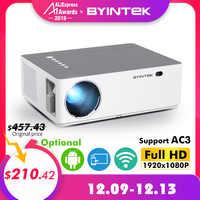 BYINTEK MOON K20 1920*1080 Full HD Smart Android Wifi soporte AC3 300 pulgadas LED proyector de vídeo con USB para cine en casa