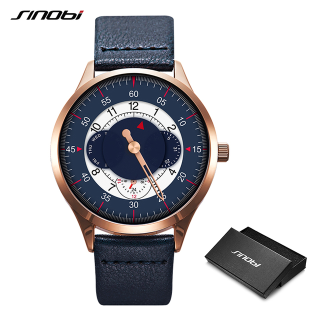 Men Watch SINOBI Top Brand Luxury Military Leather Quartz Wristwatch Man Gear Creative Watch Casual Sports Watch Box Gifts Clock
