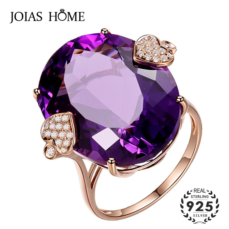 JoiasHome 925 Sterling Silve Ring For Women With Round Shape Amethyst Gemstones Women Partry Whlesale Gift Size 6-10