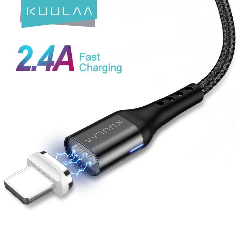 KUULAA magnetyczny kabel USB do iPhone 11 Pro X XR SE 8 7 6 Plus szybkie ładowanie USB magnes ładowarka kabel szybkie ładowanie kabel USB