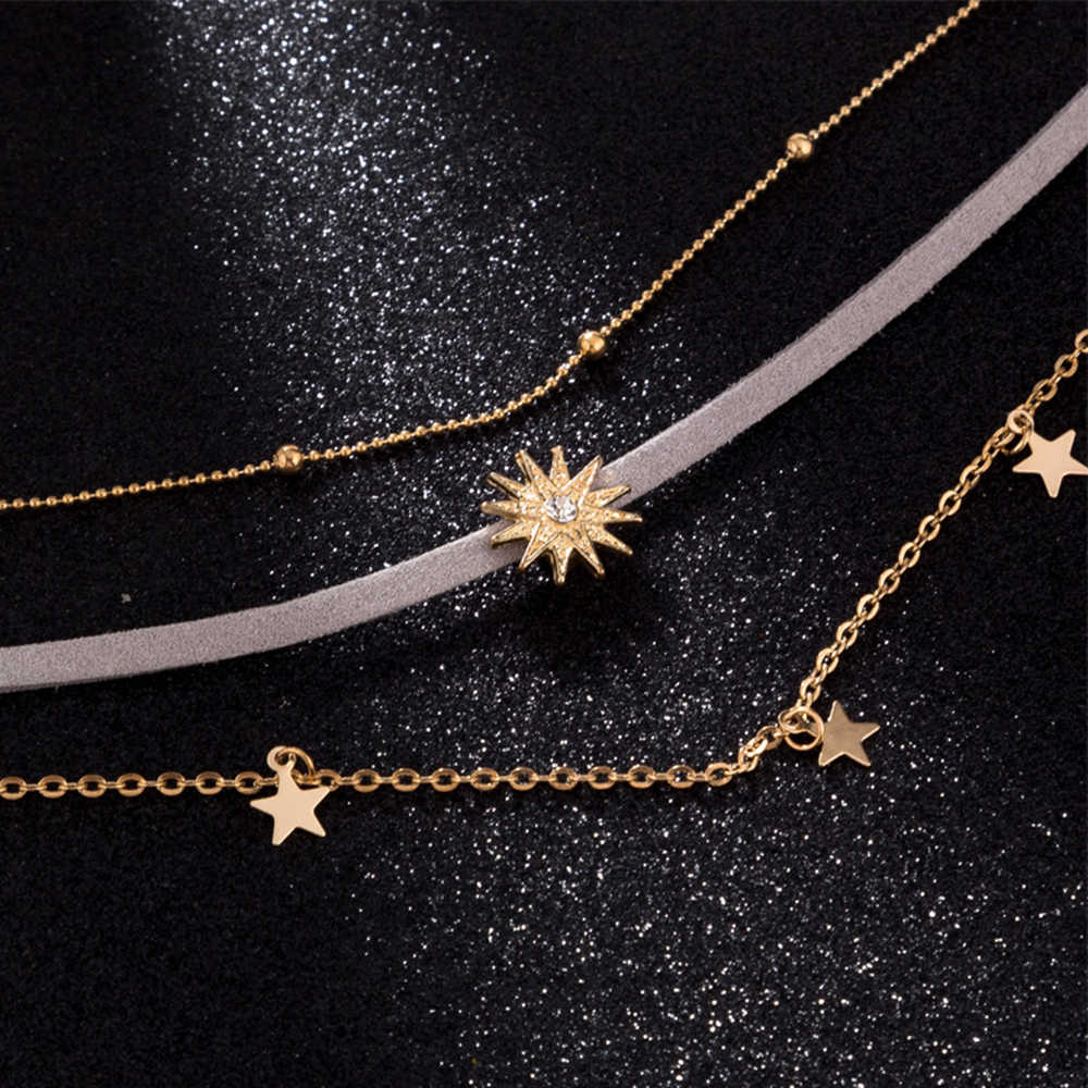 Multi-Layered Star flannel หั่น FIVE-pointed Star ผู้หญิง clavicle CHAIN