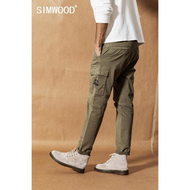 SIMWOOD 2020 אביב חדש מכנסיים מטען גברים Streetwear בציר אופנה היפ הופ קרסול אורך מכנסיים טקטי בתוספת גודל מכנסיים 190461