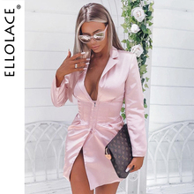 Ellolace Sexy Sertin Midi Dress Women Deep-V Long Sleeve Elegant Slim Female Dresses Autumn Pink 2019 New Lady