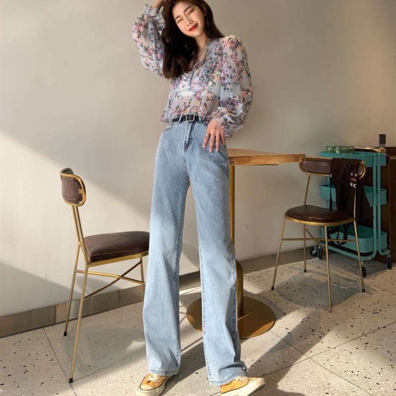 Plus Size High Waist Wide Leg Straight Loose Extra Long Jeans For Women Tall S M L XL 2XL 3XL 4XL