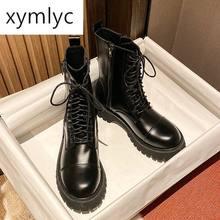 Кожаные Ботинки martin; Резиновая женская обувь; Обувь на платформе