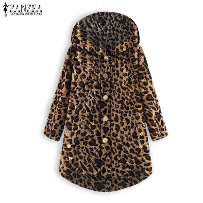 Autumn Casual Fluffy Outerwear ZANZEA 2019 Winter Thin Jackets Fashion Women Long Sleeve Leopard Printed Button Pockets Coat Top