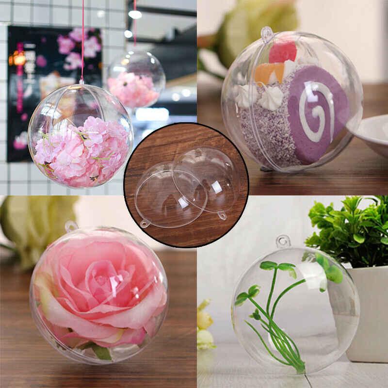 1 pc decorações de natal tress bola transparente aberto plástico claro ornamento presente caixa decoração