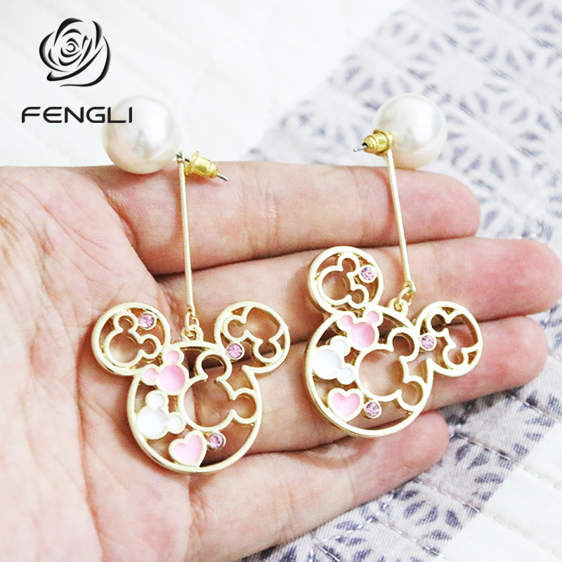 FENGLI Golden Mickey Stud Earrings For Women Dripping Oil Mouse Imitation Pearls Earring Party Minnie Ear Studs Jewelry