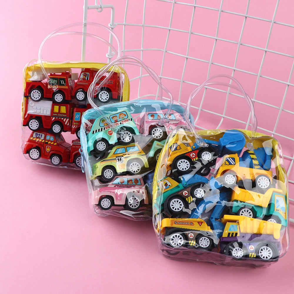 6 Pcs/set Hot Sale Creative Mini Inertia Pull Back Engineering Car Model Toy Vehicles Gift For Children Loving Toys Gift