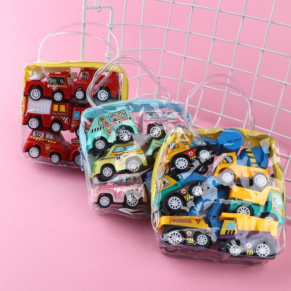 6 Pcs/set Hot Sale Creative Mini Inertia Pull Back Engineering Car Model Toy Vehicles Gift For Children Loving Toys Gift