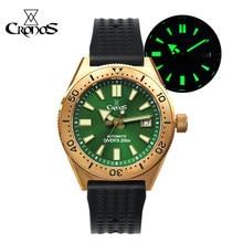 CRONOS Watch Bronze Diver Men's Watch CUSN8 NH35 Automatic Movement Rotate Bezel Waffle Rubber Strap Sapphire Glass Luminous