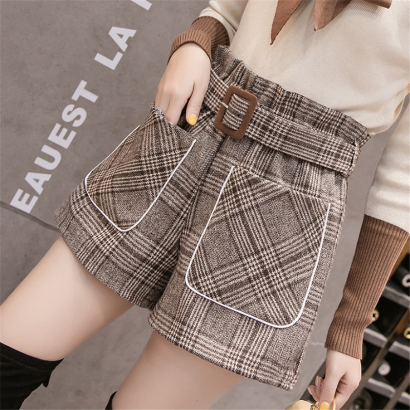 Plaid Woolen Shorts Women 2019 Autumn Winter High Waist Loose Wide Leg Belted Short Pants Office Work Boots Shorts Plus Size