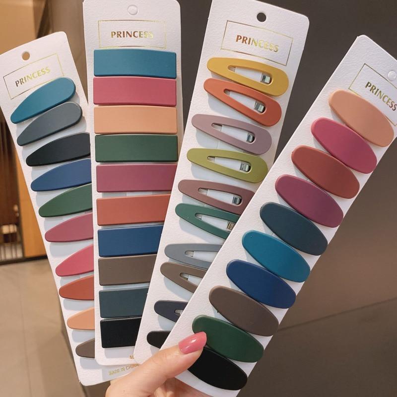 10 unids/pack Color sólido Simple geométrico horquillas pelo accesorios mujeres pasador broche chicas caramelo Color Clip de pelo tocado