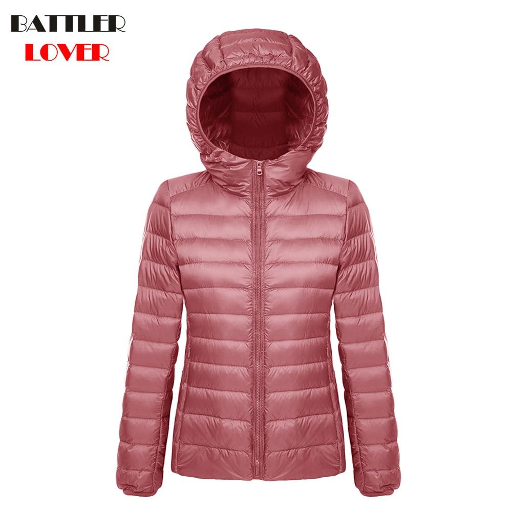 2019 Winter Women Ultra Light Down Jacket 90% Duck Down Hoody Jackets Long Sleeve Warm Coat Parka Female Solid Portabl Outwear