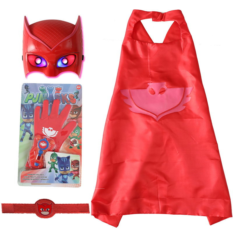 4pcs/set Pj Mask Cartoon Juguete Costume Birthday Party Pj Masks Catboy OwlGilrs Gekko Mask Anime Figures Toys For Children Gift