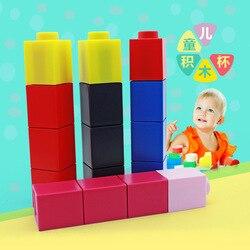 Twórcze dzieci LEGO klocki dzban kwadratowe klocki kubek plastikowy zimny dzbanek na wodę przenośne szkło studenckie 350 Ml w Butelki sportowe od Sport i rozrywka na