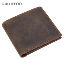 GROJITOO First Layer Cowhide Wallet For Men Multi-card Genuine Leather Wallet  Crazy Horse Leather Wallet Coin Bag Card Purse