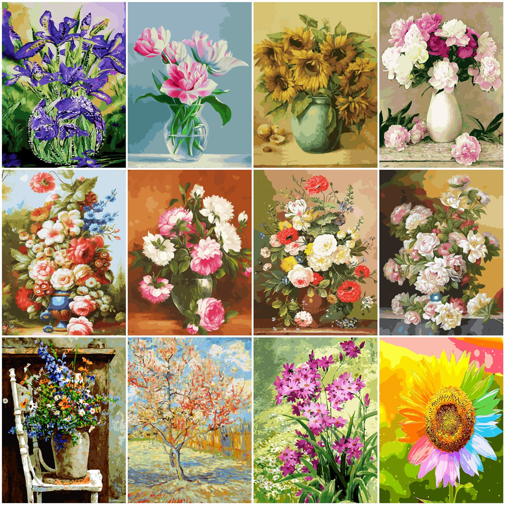 HUACAN Flowers Painting By Number Drawing On Canvas HandPainted Painting Art Gift DIY Pictures By Number Floral Kits Home Decor