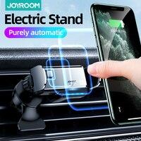 Minisoporte de teléfono eléctrico para coche, soporte Universal para iPhone, SAMSUNG, bloqueo automático y salida de aire para teléfono móvil abierto