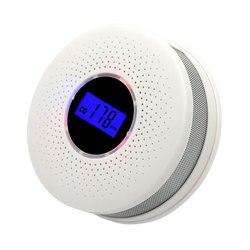 Detector de humo y sensores de monóxido de carbono 2 en 1 pantalla LCD operada por batería CO alarma con luz LED intermitente advertencia de sonido