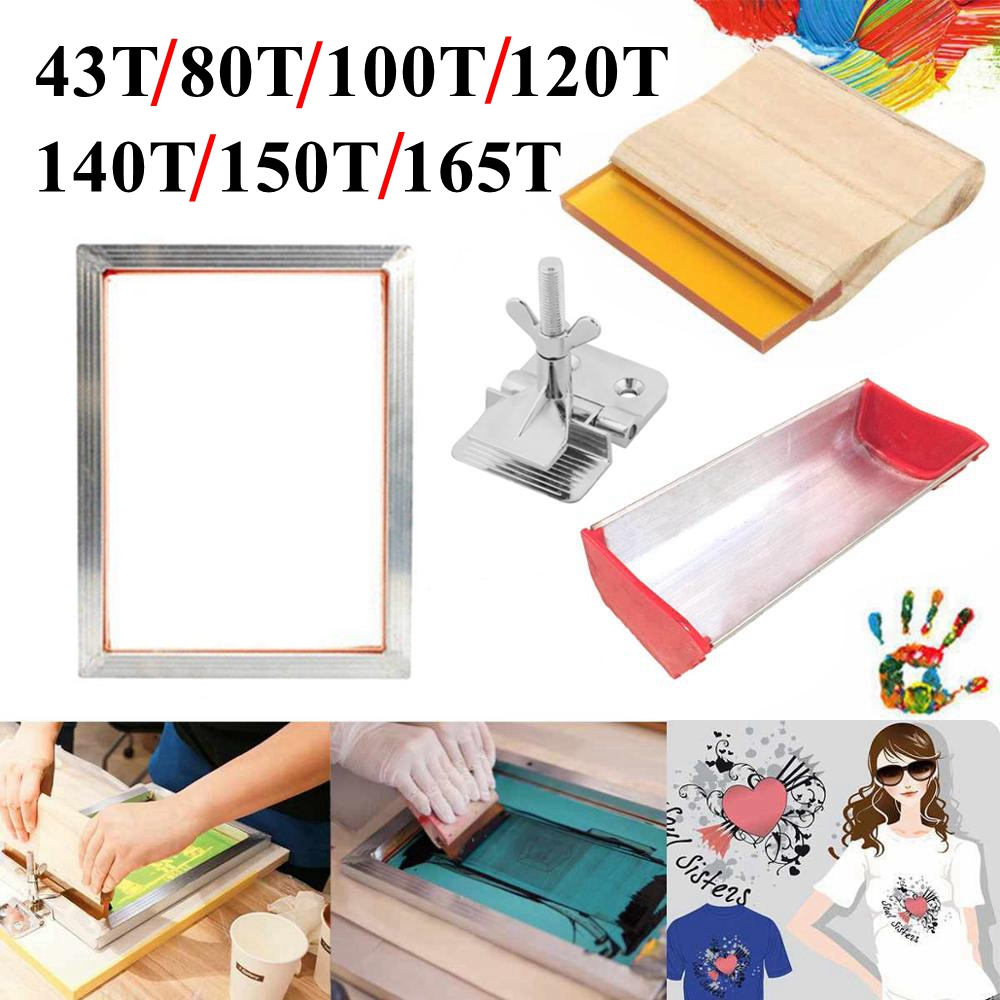 4PCS Screen Printing Kit 43/120T Silkscreen Mesh Aluminum Frame + Hinge Clamp + Emulsion Scoop Coater + Squeegee Tool Parts Set