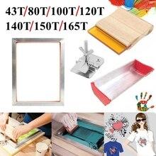 Kit de impressão da tela 43/120t, 4 unidades, tela de seda malha quadro de alumínio + braçadeira da dobradiça + coator de emulsão conjunto de peças de ferramentas + squeegee
