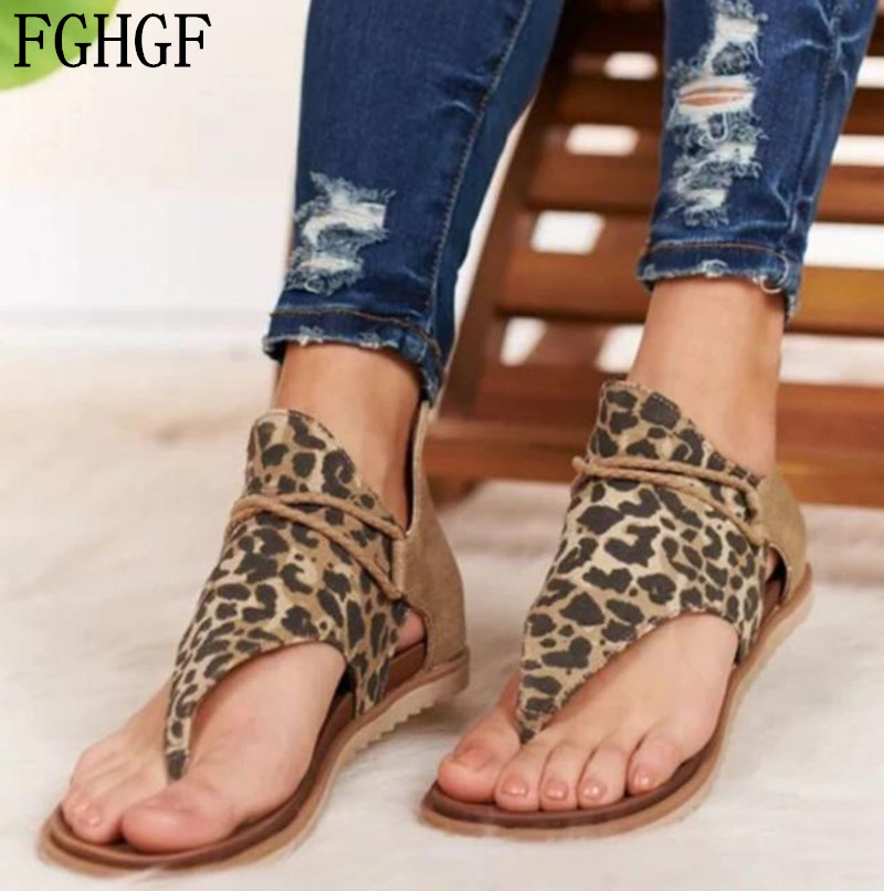 Big Size 35-43 Sandals Women Summer Leopard Shoes Ladies Platform Beach Clip Toe Flip Flops Woman Casual Gladiator Mujer A039